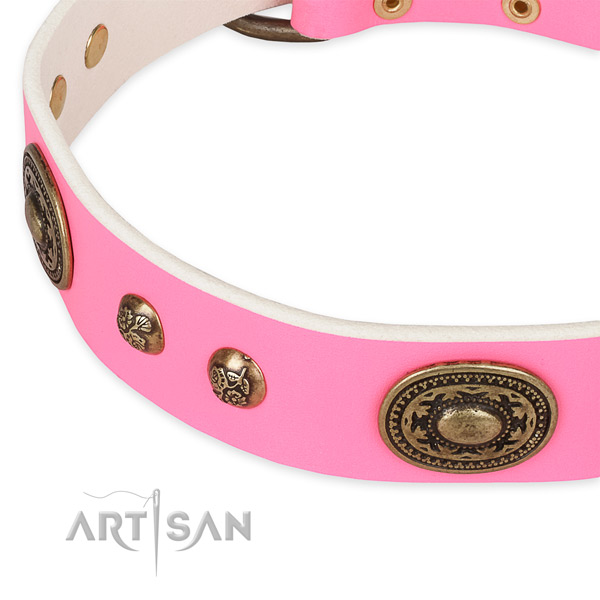 Embellished full grain natural leather collar for your beautiful canine