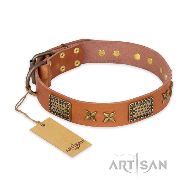 Handmade leather dog collar with reliable D-ring