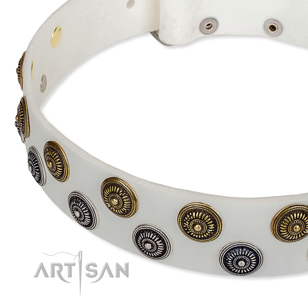 Handy use decorated dog collar of high quality leather