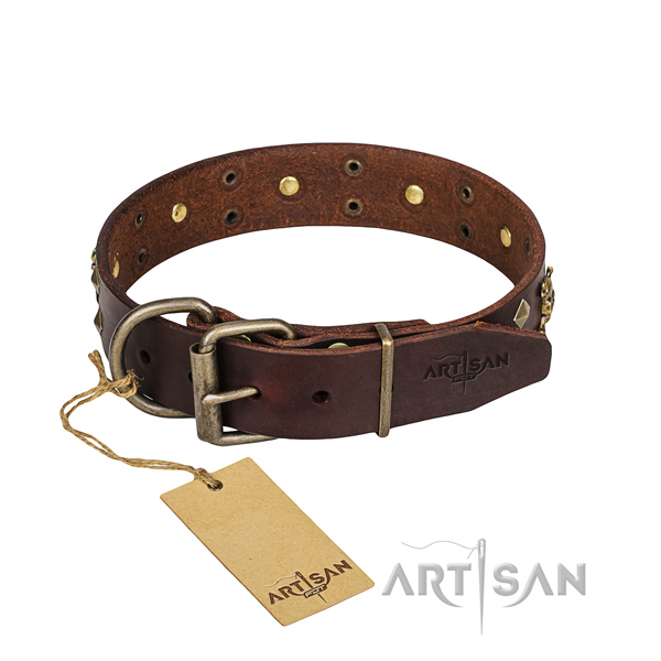 Basic training dog collar of durable natural leather with adornments