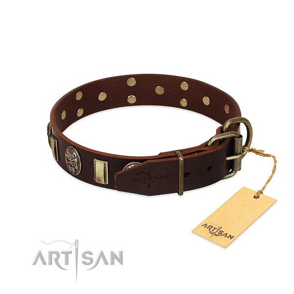 Leather dog collar with corrosion resistant hardware and decorations