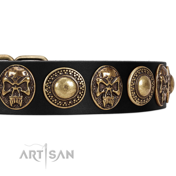 Full grain genuine leather dog collar with adornments for comfy wearing