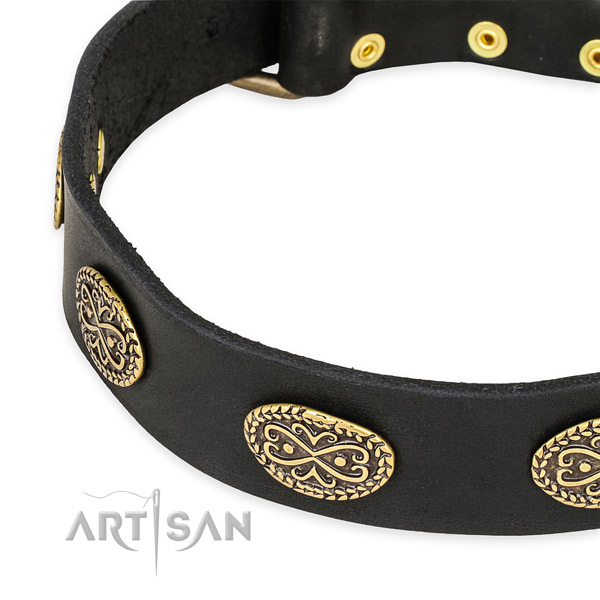 Adorned full grain genuine leather collar for your impressive canine