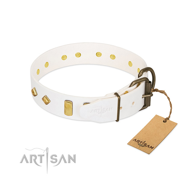 Quality full grain genuine leather dog collar with corrosion proof buckle