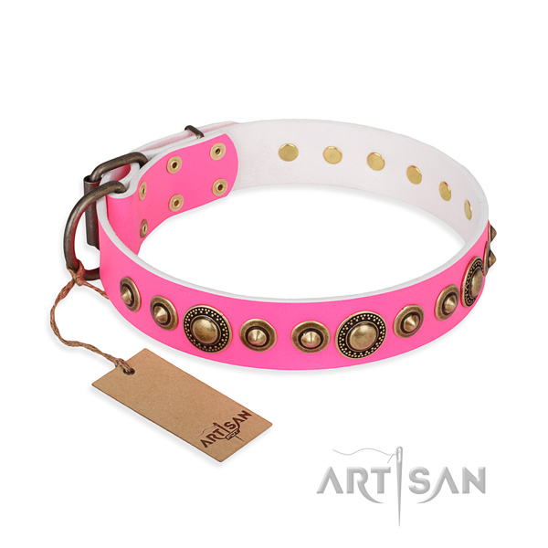 Quality full grain genuine leather collar created for your dog