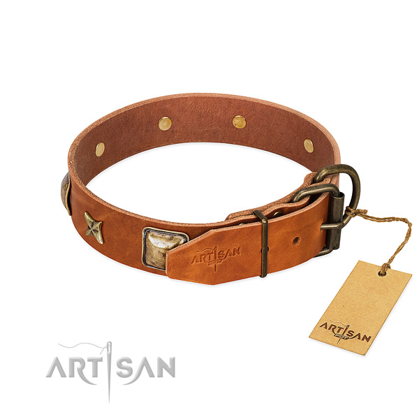 Full grain genuine leather dog collar with durable D-ring and studs