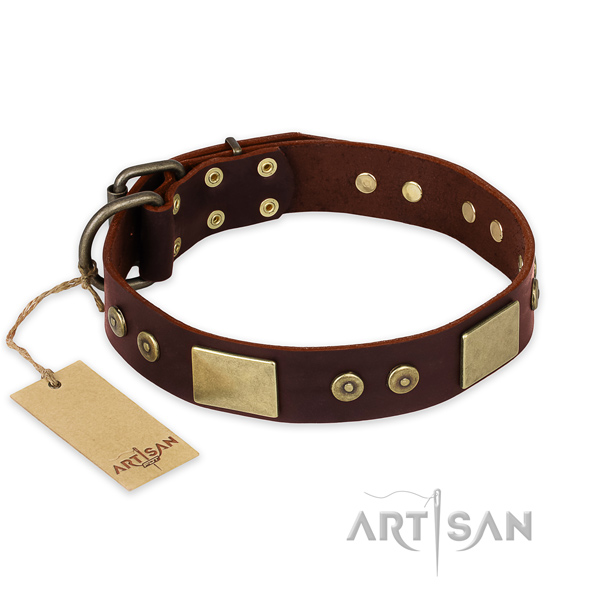 Exquisite full grain natural leather dog collar for daily use