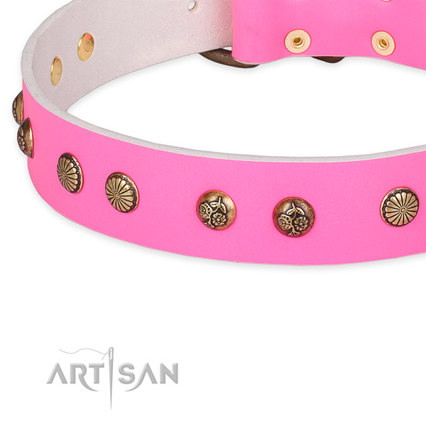 Full grain natural leather collar with corrosion proof D-ring for your lovely canine