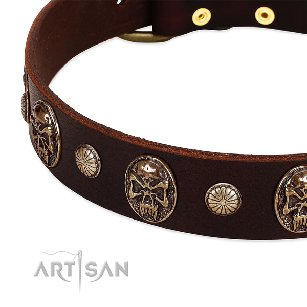 Genuine leather dog collar with decorations for daily use
