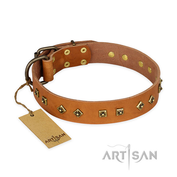 Perfect fit full grain natural leather dog collar with rust-proof D-ring