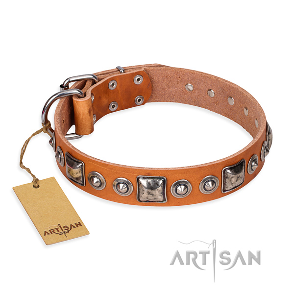 Full grain leather dog collar made of soft to touch material with strong fittings