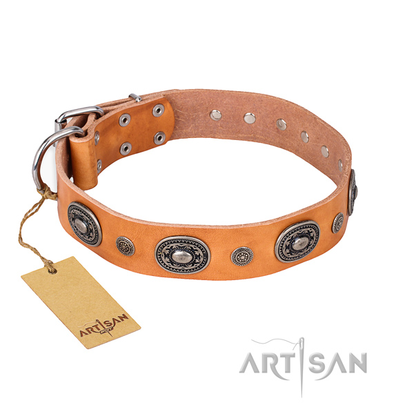 High quality natural genuine leather collar handcrafted for your dog