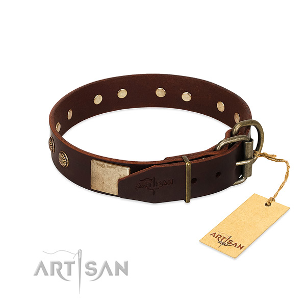 Durable hardware on easy wearing dog collar