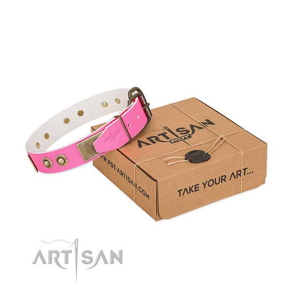 Corrosion proof adornments on full grain leather dog collar for your doggie