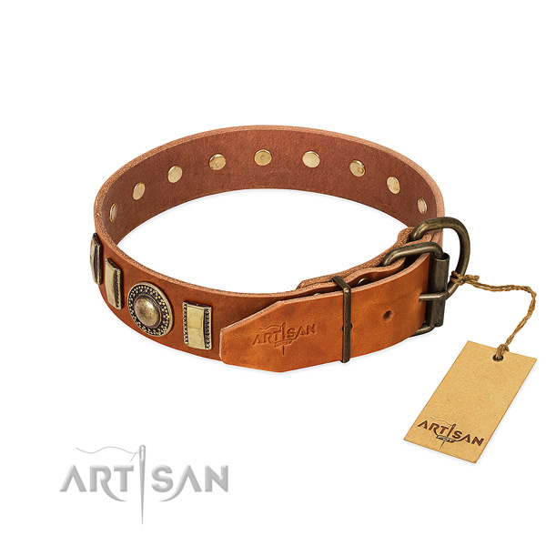 Stylish design full grain leather dog collar with corrosion resistant buckle