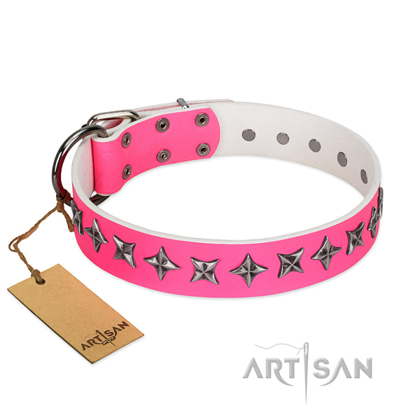 Quality full grain leather dog collar with stylish design decorations