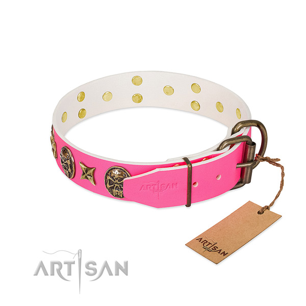 Durable D-ring on full grain natural leather collar for everyday walking your doggie