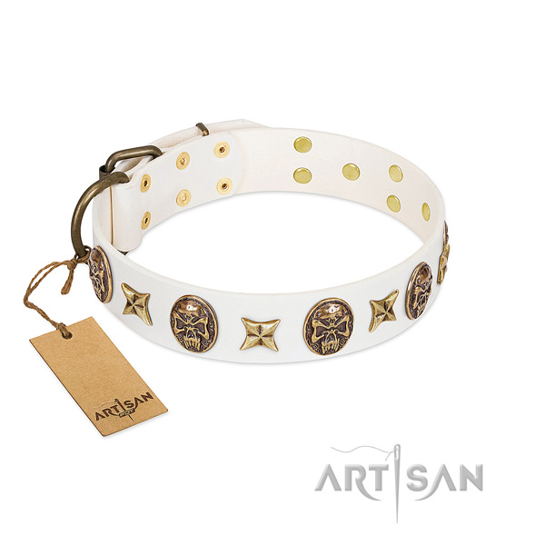 Embellished full grain natural leather dog collar for handy use