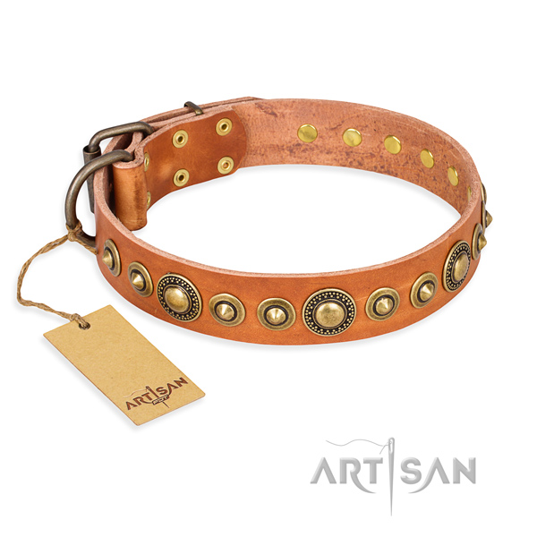 Gentle to touch genuine leather collar handmade for your doggie