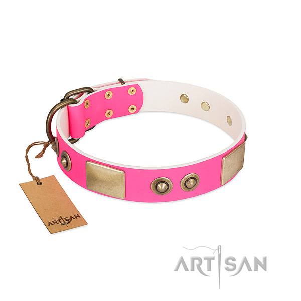 Rust resistant traditional buckle on full grain genuine leather dog collar for your doggie