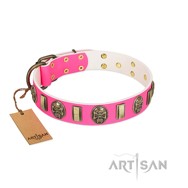 Durable buckle on natural genuine leather dog collar for your canine