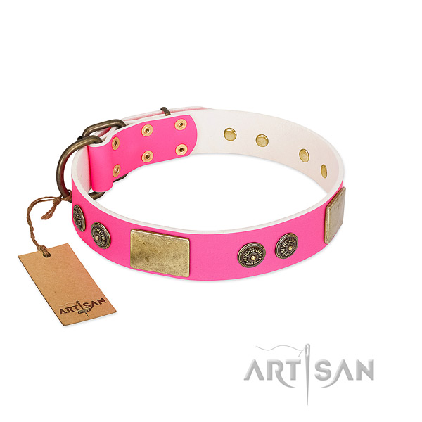Easy to adjust full grain leather dog collar for comfortable wearing