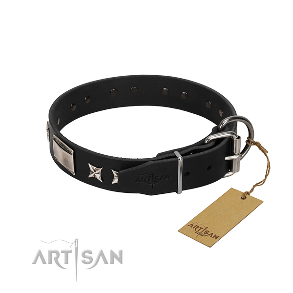 Soft natural leather dog collar with strong hardware