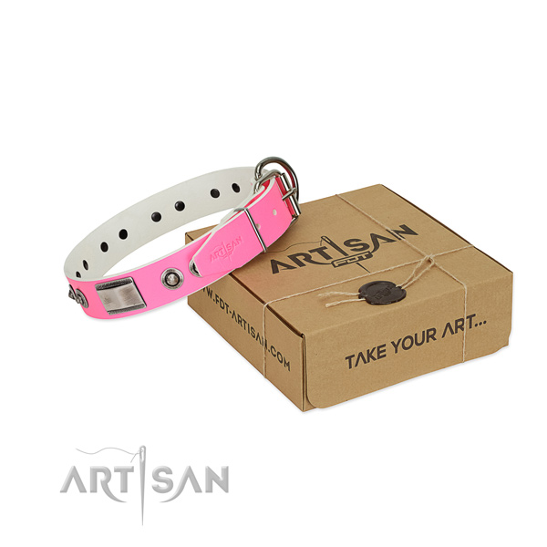 Convenient dog collar of genuine leather with adornments