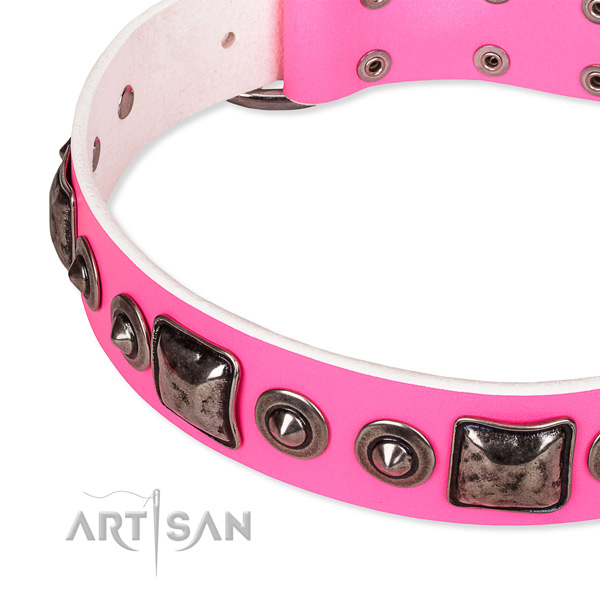 Best quality full grain natural leather dog collar handcrafted for your attractive pet
