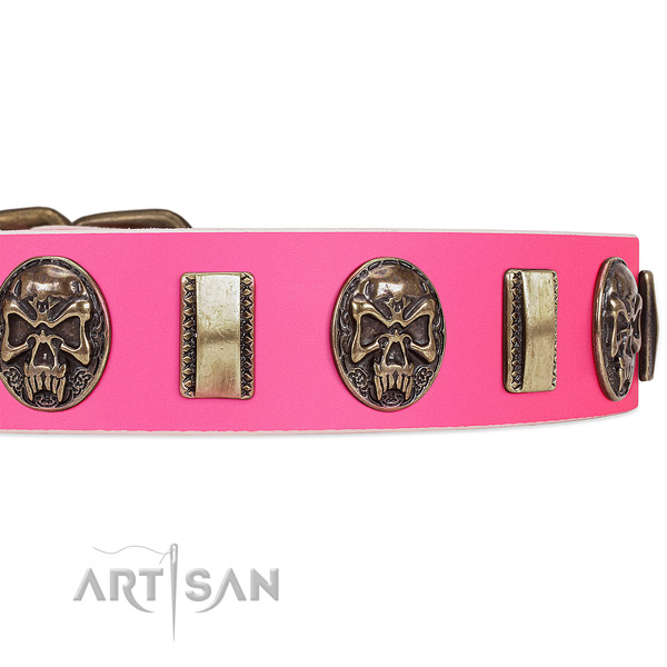 Rust resistant fittings on genuine leather dog collar for your pet