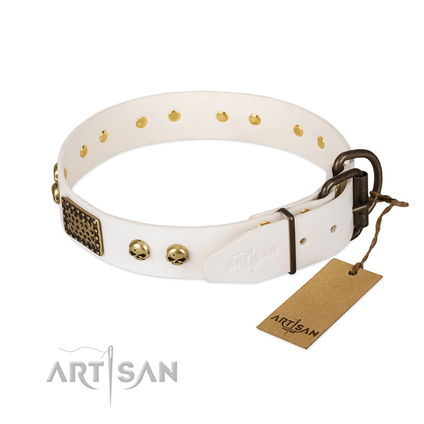 Easy wearing full grain natural leather dog collar for daily walking your doggie