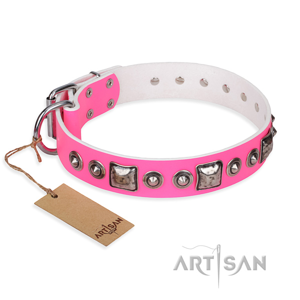 Leather dog collar made of reliable material with corrosion proof buckle