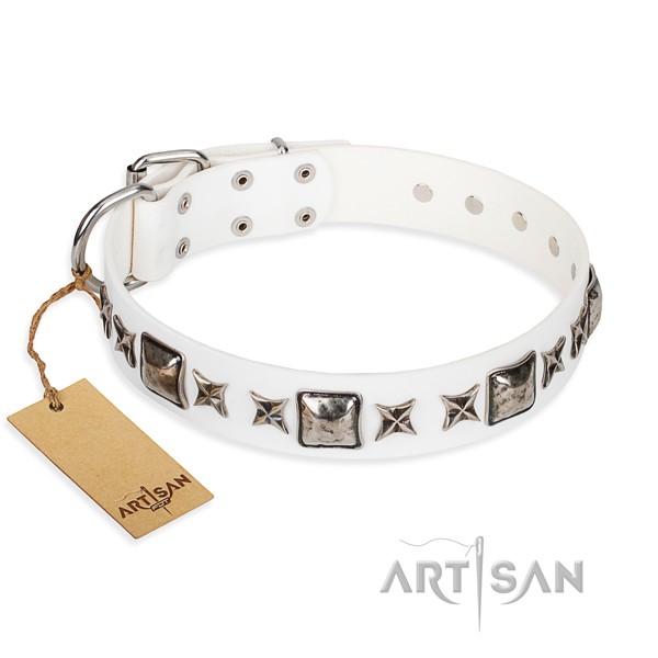 Full grain leather dog collar made of high quality material with corrosion proof hardware