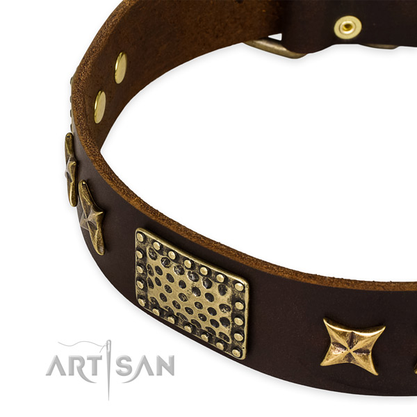Full grain genuine leather collar with strong buckle for your attractive doggie