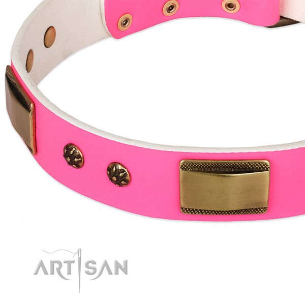 Rust resistant D-ring on full grain genuine leather dog collar for your canine
