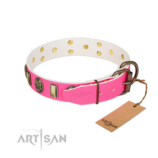 Rust-proof fittings on natural genuine leather dog collar for your doggie