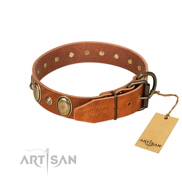 Handy use full grain natural leather dog collar