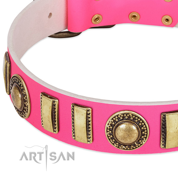 Durable natural leather dog collar for your lovely dog