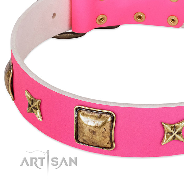 Genuine leather dog collar with designer adornments