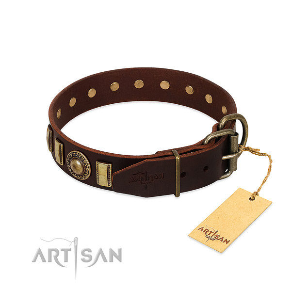 Top notch full grain genuine leather dog collar with rust resistant buckle