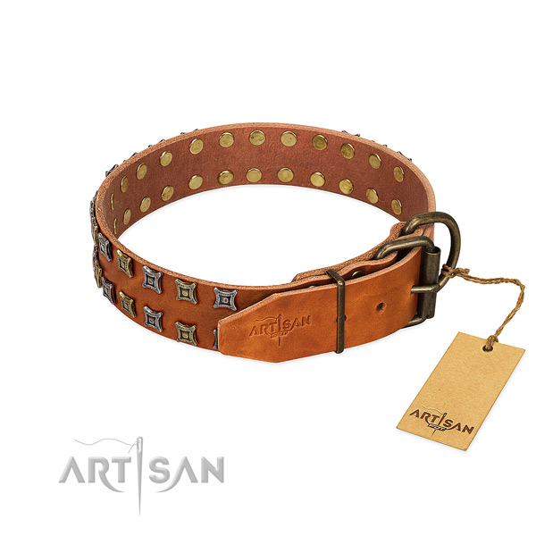 High quality leather dog collar crafted for your doggie