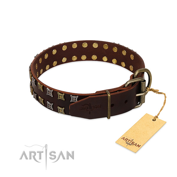 Quality natural leather dog collar created for your canine