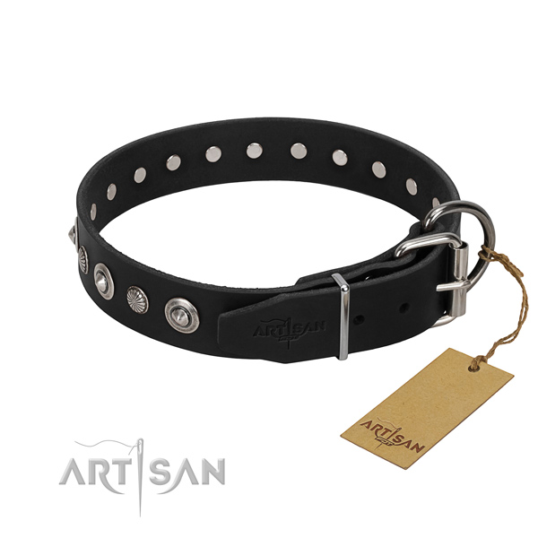 Top notch full grain natural leather dog collar with amazing decorations