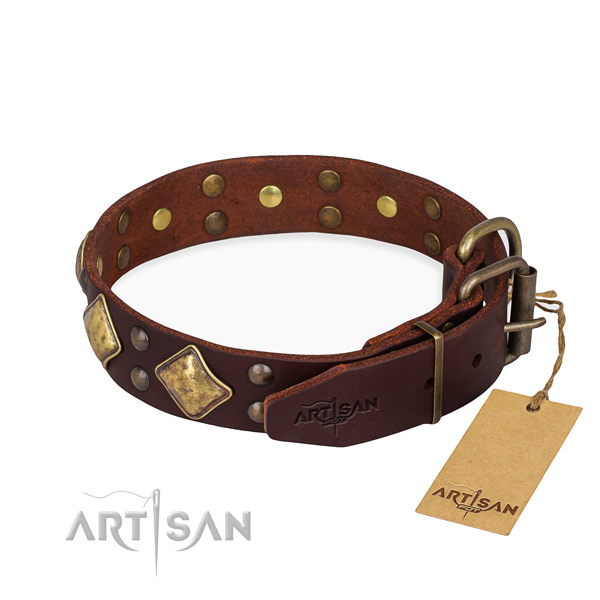 Leather dog collar with exquisite corrosion resistant decorations