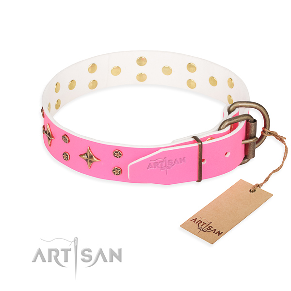 Best quality decorated dog collar of leather