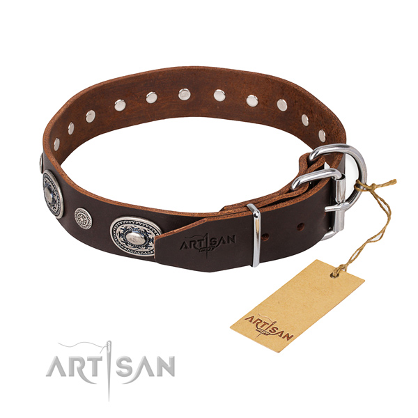 Soft full grain leather dog collar crafted for everyday walking