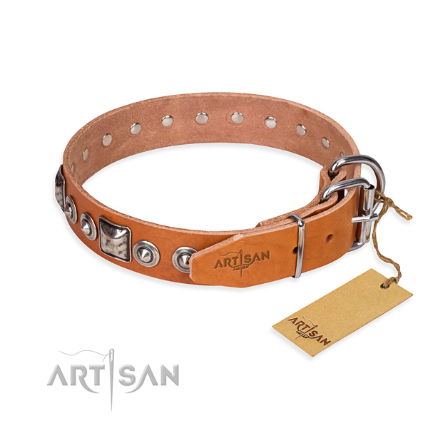 Leather dog collar made of top notch material with rust resistant decorations