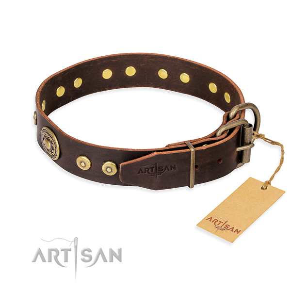 Full grain leather dog collar made of quality material with corrosion proof embellishments