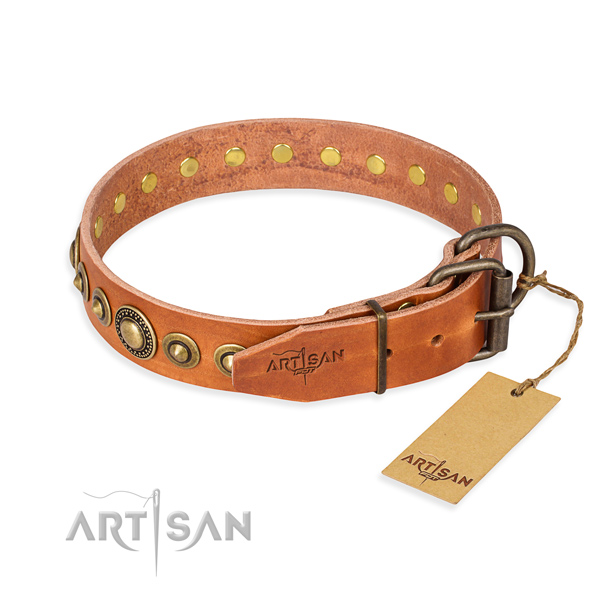 Soft genuine leather dog collar created for fancy walking