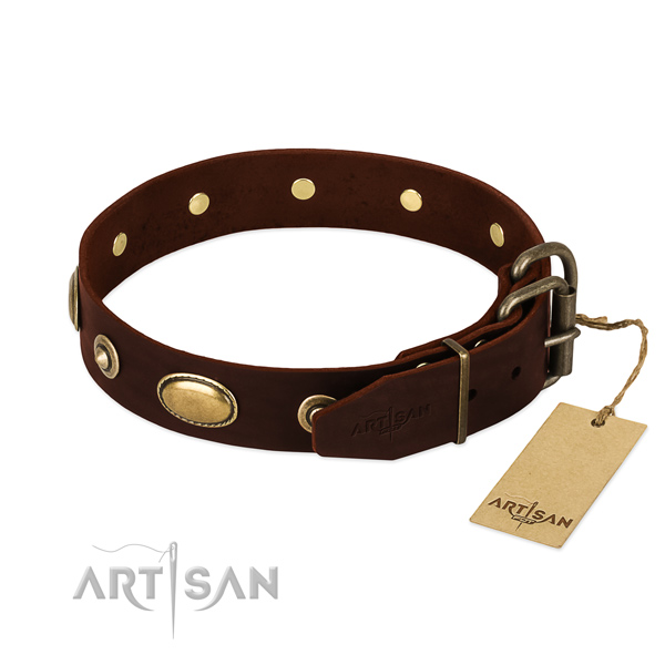 Durable adornments on genuine leather dog collar for your pet